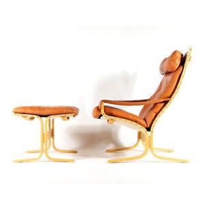 Retro-Vintage-Leather-Ingmar-Relling-Siesta-Chair-Armchair-Footstool-Danish