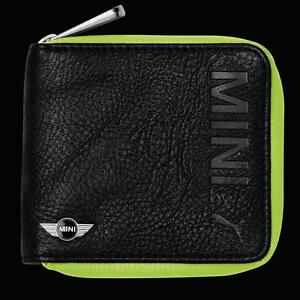 MINI-Cooper-by-Puma-Black-Leather-Wallet-Money-Credit-Card-Holder-Zip-Up-New-OEM