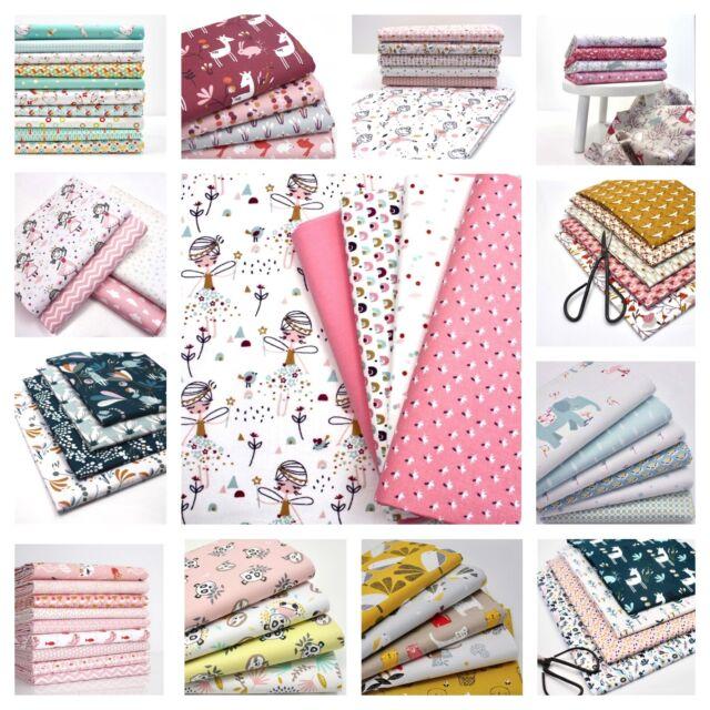 UNICORN RAINBOW PASTEL FABRIC BUNDLE 100/% cotton FQ Bundle DRESS craft material