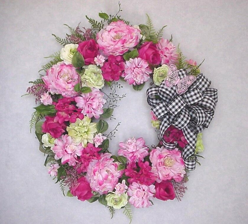 SPRING SUMMER VICTORIAN COUNTRY COTTAGE WREATH MOTHER'S DAY WREATH FRONT DOOR