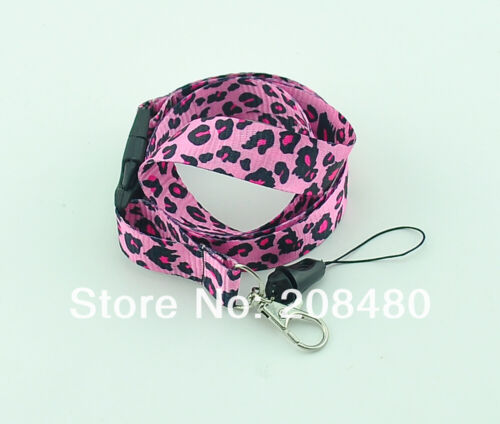 Brand New Pink Leopard Print Lanyard Keychain Document ID Badge Holder