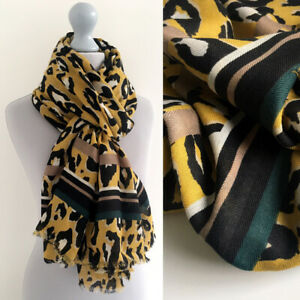 Large-Leopard-Print-Scarf-Mustard-Yellow-Green-Striped-Animal-Big-Long-Cotton