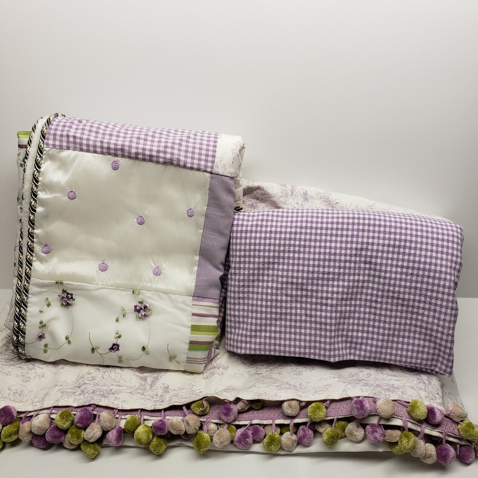 Lavender//White Glenna Jean Penelope Gingham Fitted Sheet