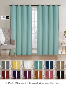 Image Is Loading 2 Pack Hotel Thermal Grommet 100 Blackout Curtains