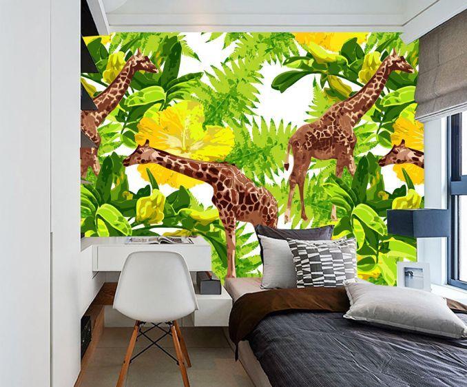 3D Giraffe Häuser 7521 Fototapeten Wandbild Fototapete BildTapete Familie DE