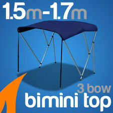 3 Bow 1.5m-1.7m Blue Boat Bimini Top Canopy Cover w/ Rear Poles & Sock