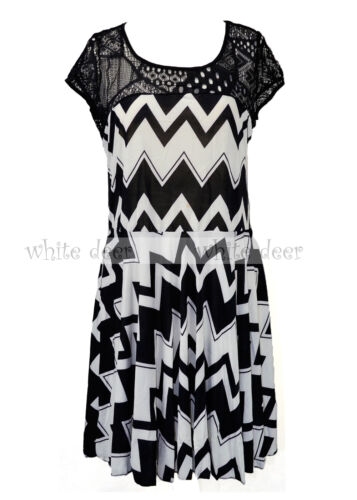 Women/'s Chevron Zig Zag Sundress Dress Fishnet Lace Short Sleeve Scoop Neck