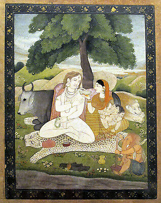 SHIVA AND PARVATI ASTRIDE NANDI 15x22 India  Art Print Mandi Hindu Ganesh