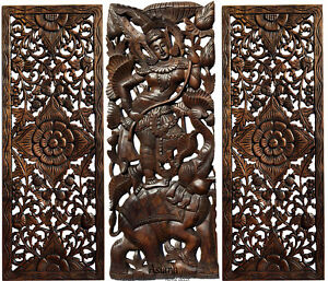 Traditional Thai Figure With Elephant Carved Wood Wall Art Decor