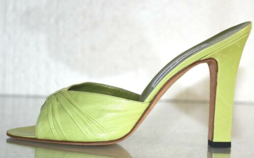 Lime Manolo Nuovo Verde Sandali Fermacapelli Tacchi Sabot Scarpe Pelle Blahkin OSOq7wWvA