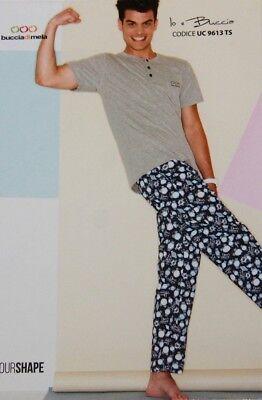 Affidabile Pigiama Tuta Uomo Buccia Di Mela Mezza Manica 100% Cotone Blu Grigio Orologio