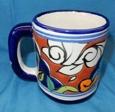 5781c00ff5c Cobalt Blue White Orange Mexican Folk Art Coffee Tea Mug Cup Made in Mexico  | eBay