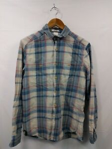 Mens-H-amp-M-Beige-Blue-Check-Long-Sleeve-Casual-Shirt-Size-Small-Regular-2F1