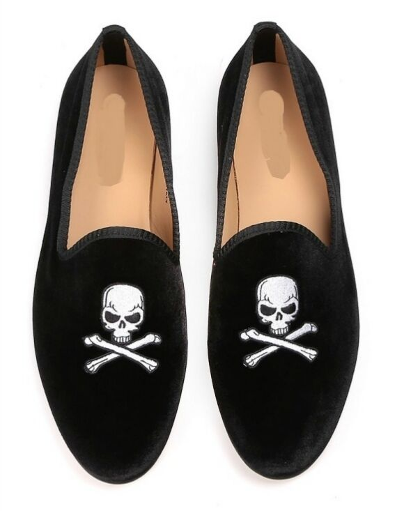 New Handmade Men Latest Velvet Skull Embroiered Loafer Slippers, Men Moccasin