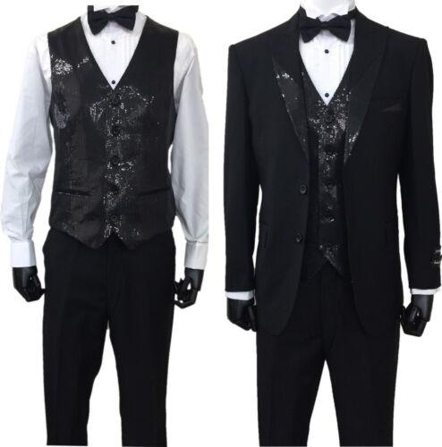 Men/'s 3-PC Black Tuxedo Suit 2-Button Metallic Lapel// Come with Vest Pants T-713