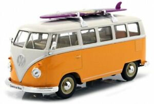 VW Volkswagen T1 Bus with Surfboard - 1963 - yellow / white - WELLY 1:24