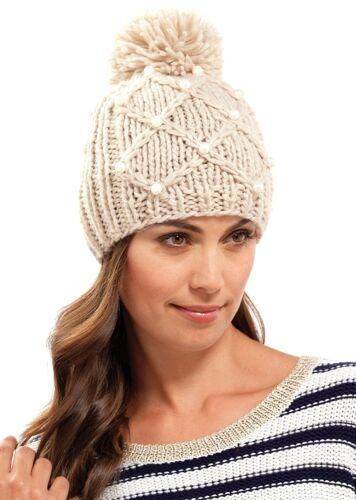 RJM Damen weiches grob gestrickt Beanie-Mütze mit Bommel Perlen Einheitsgröße