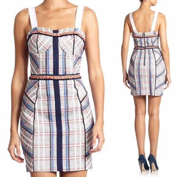 $468 Rebecca Minkoff Clara Linen Tweed Bustier Dress Designer