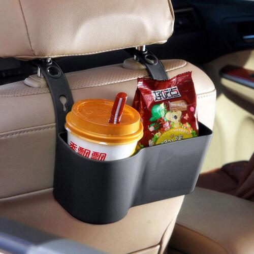 Black Car Seat Back Water Bottle Stand Holder Mount Snacks Organizer Storage Box