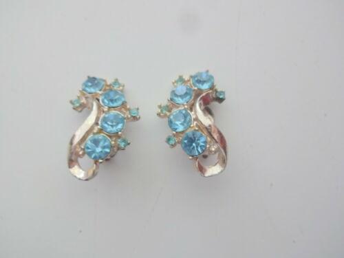 Vtg Aqua Blue Rhinestone Clip On Earrings - image 1