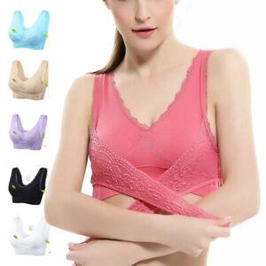 Women-Bra-Vest-Wide-Strap-Solid-Yoga-Sports-Lace-Lingerie-Side-Buckle-Underwear