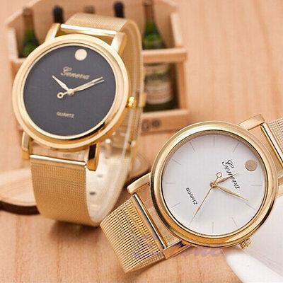 Latest Fashion Women Classic Gold Dot Geneva Quartz Stainless Steel Wrist Watch