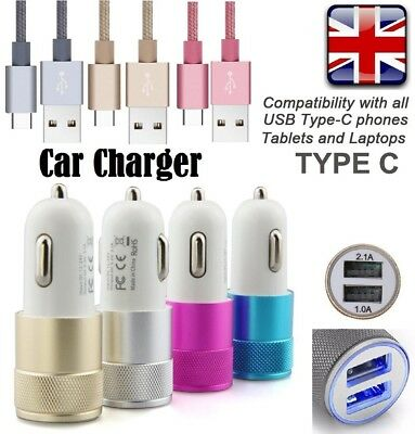 Dual In Car Charger + Type C Usb 3.1 Fast Charging Cable- Google Pixel 2 Xl