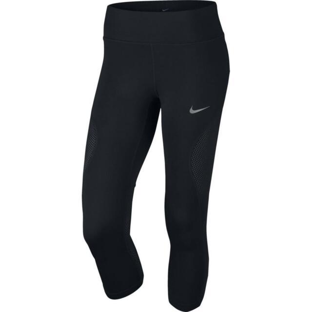 5ebee110ba106b Nike Women's Racer Power Cutout Black Running Crops (855144-010) Sizes S/