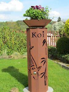8Eck-Saeule-Koi-Japan-Edelrost-Rost-Garten-Saeule-rostig-Deko-Koi-Teich-Kugel