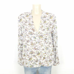 ESPRIT-Langarm-Bluse-Tunika-Gebluemt-Blouse-Flower-Weiss-Gr-42-XL