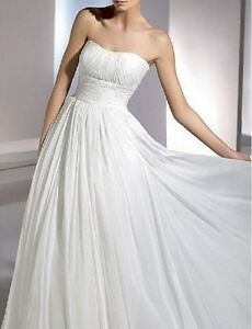 New-White-Chiffon-Strapless-Wedding-Bridal-Dress-Debutante-Gown-Au-Sz-6