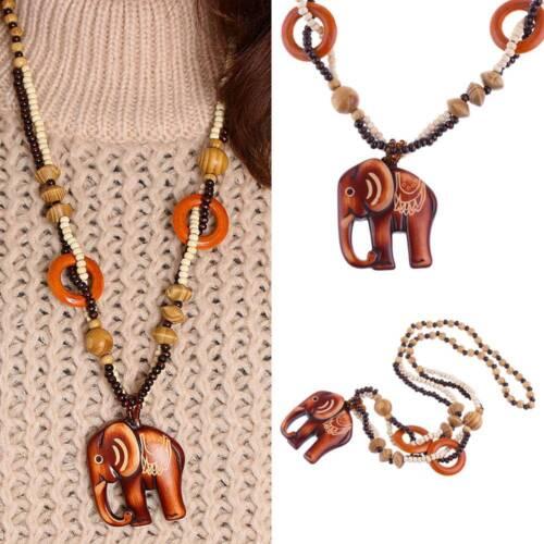 Handmade Bead Wood Elephant Pendant Necklace Ethnic Style Sweater Chain Jewelry