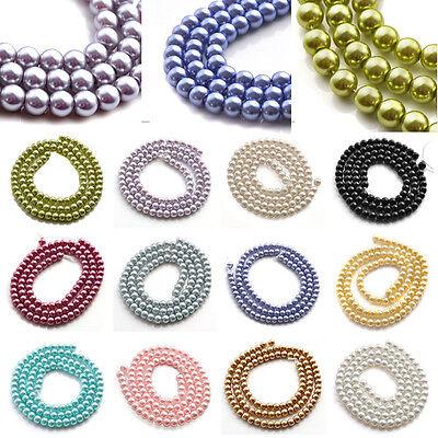 Strang Rund Glas perlen Bead Glasperlen Glasschliffperlen 4mm/6mm/8mm/10mm/12mm