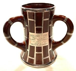 ANTIQUE-Pool-billiard-STELING-SILVER-INLAID-PORCELAIN-loving-cup-ULTRA-RARE