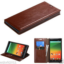ZTE ZMax Z970 TMobile Metro Business Folio Flip Case Pouch w/Stand Cover Brown