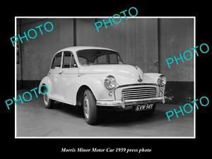OLD-LARGE-HISTORIC-PHOTO-OF-1959-MORRIS-MINOR-CAR-PRESS-PHOTO