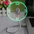 Mini Flexible USB Powered Cooling Fan LED Light Temperature Clock For Laptop PC
