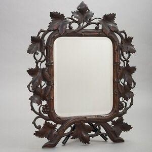 Antique German Black Forest Carved Wood Frame Beveled