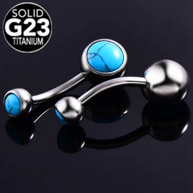G23 Titanium Turquoise Dangle Belly Button Ring Navel Bar Rings 14g Body Jewelry