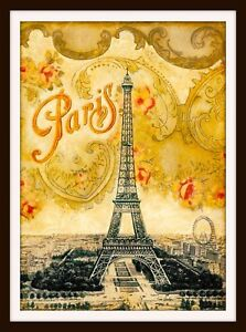Paris-Eiffel-Tower-French-Europe-European-Vintage-Travel-Advertisement-Poster