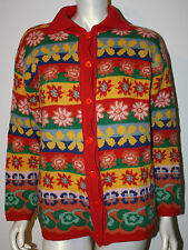 IVKO Style Red Green Blue Multi Floral LS Cardigan Sweater M L