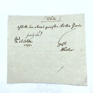 Authentic 1791 Small Handwritten European Document Manuscript Old Paper Rare