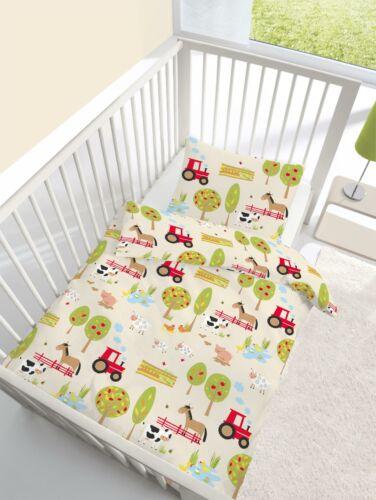 2 tlg Kinder Baby Bettwäsche 100 x 135 cm Bauernhof Baumwolle B-Ware