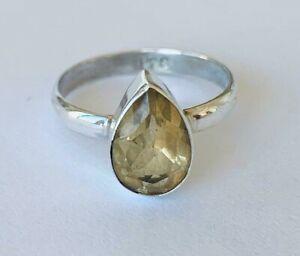 925 Sterling Silver Citrine Ring Gemstone Teardrop Pear Stack Size 5678 9 10 11