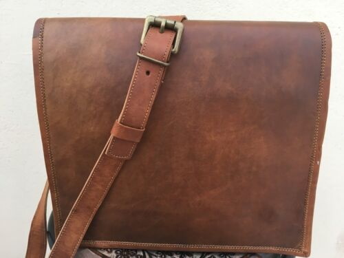 Old Style Vintage Leather Men/'s Brown Laptop Shoulder Satchel Messenger Bag New