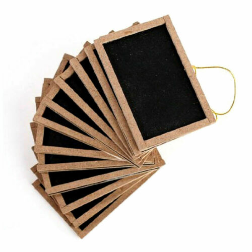 """12 Mini Wooden Chalkboards 3/""""x 4/"""" Wedding Party Table Numbers Decorations Favors"""
