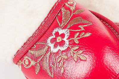 Dama Mujeres Cuero Eco De Piel De Cordero Zapatillas Lana zapatos talla 3 4 5 6 7 8 Flip-Flop