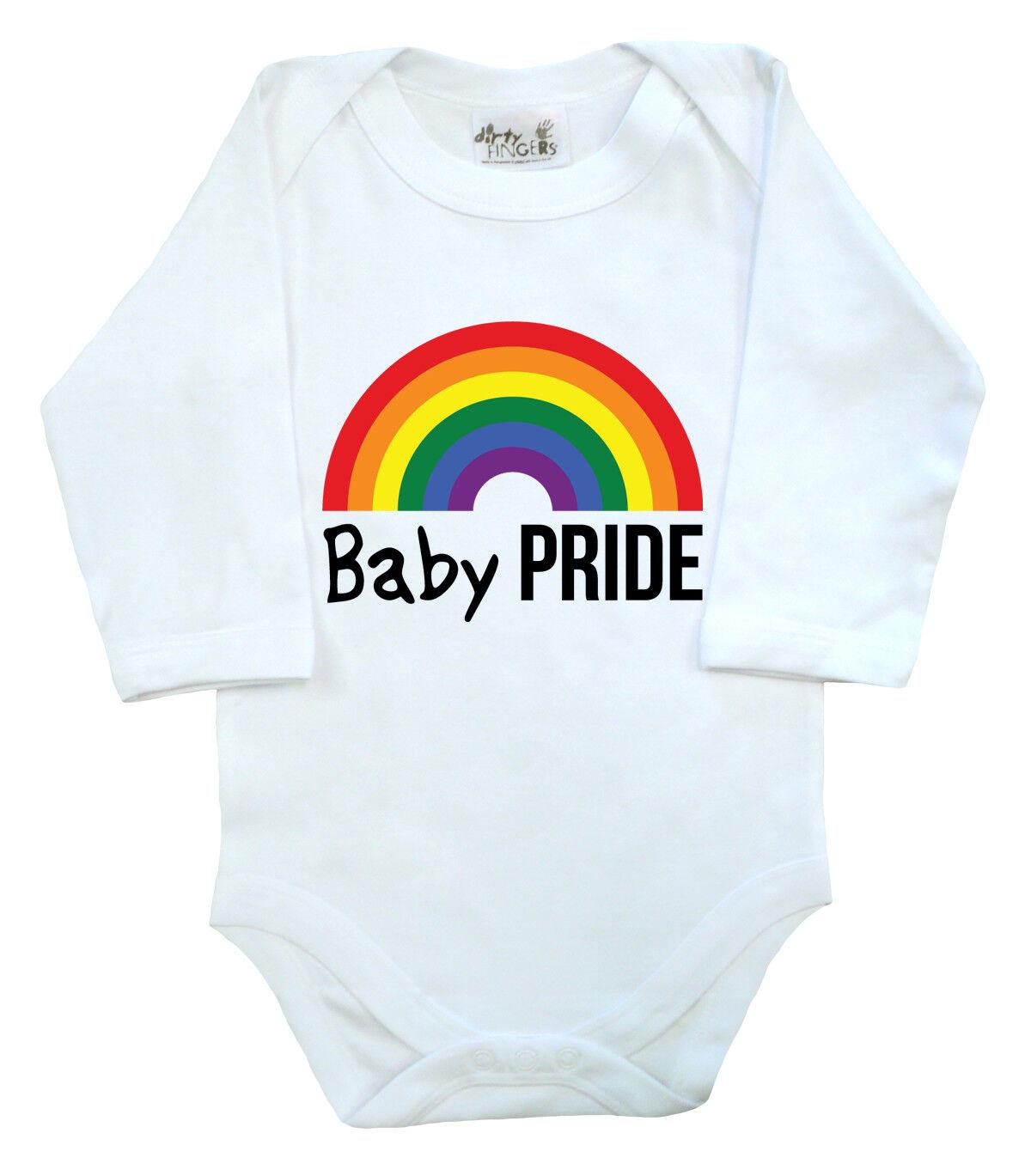 "Baby LGBT Bodysuit /""baby Pride/"" Long Sleeve baby grow Support Gay Pride Rainbow"