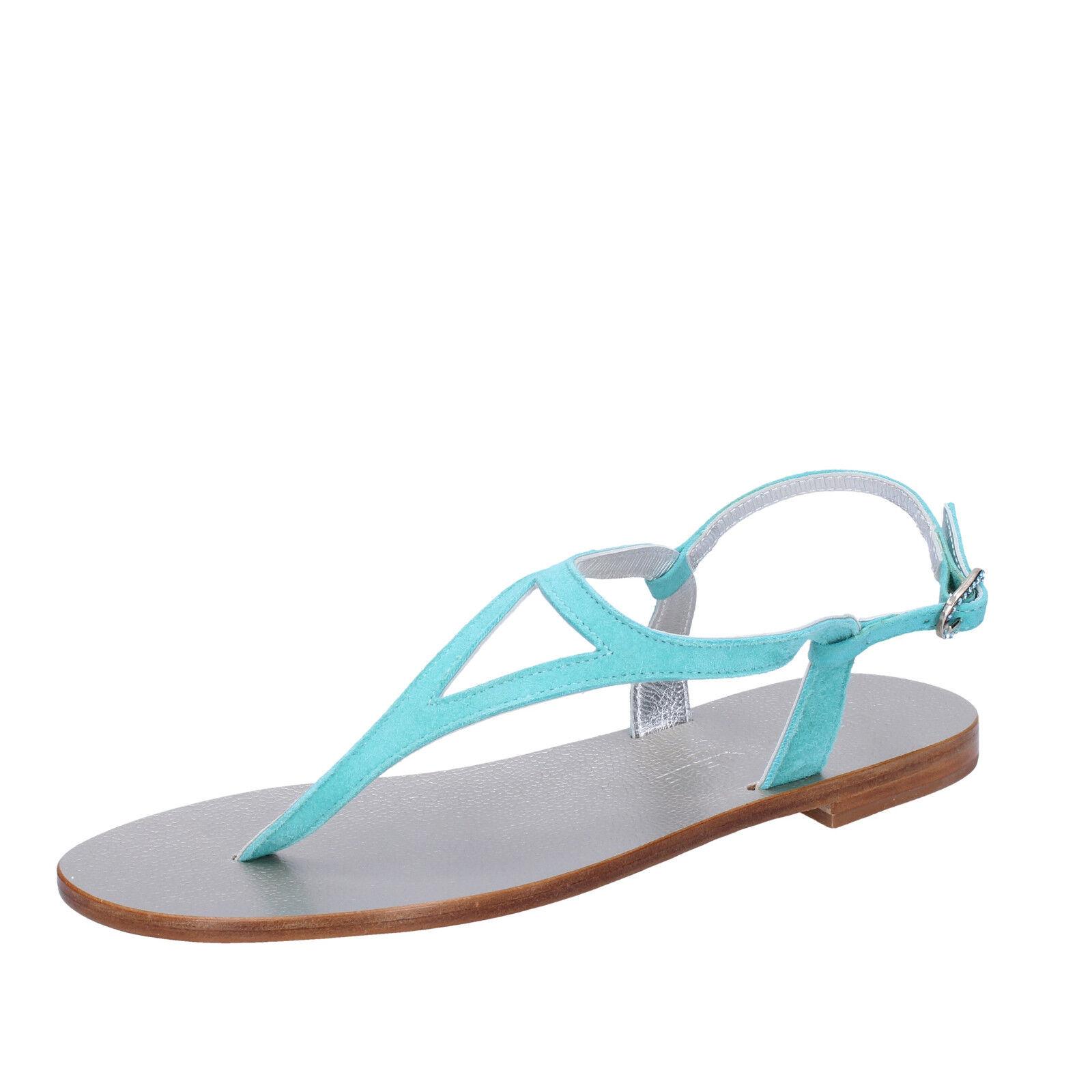 Chaussures Femmes Eddy Daniele 37 UE Sandales Bleu Clair Daim aw520