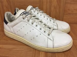 huge selection of f1bf4 94df5 Image is loading Worn-Adidas-Originals-Stan-Smith-White-Leather-Navy-
